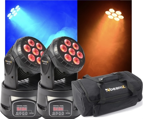 Paket 2st MHL74 Mini Moving Head 7x 10W 4-in-1 LED + case